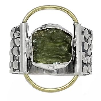 Moldavite Two Tone Sterling Silver Band Ring