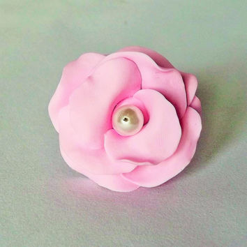Pink Rose Ring, Pastel Pink, Statement Ring, Polymer Clay Jewellery