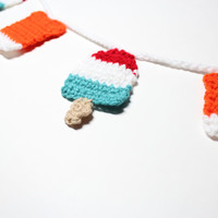 Summer Crochet Garland, Popsicle Bunting, Wall Hanging, Party Decoration, Handmade Home Decor, Kitchen Food Decor