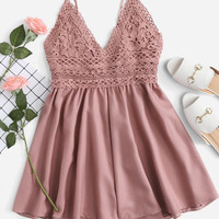 Contrast Lace Knot Back Cami Romper