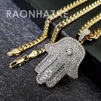 Hip Hop Blinged Out Hands of Hamsa Pendant w/ 5mm Miami Cuban Chain