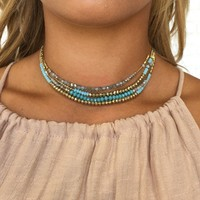 Bali Beads Choker Set in Mint