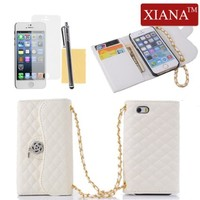 iPhone 5 Case, iPhone 5S Case, XIANA Royal Ridge Grid with Rose Flower Pendant Decorated Design Leather Handbag Wallet Case Cover Protector For iPhone 5 5S(White),A Stylus,Screen Protector and Cleaning Cloth Included