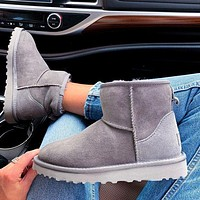 Bunchsun UGG Winter Women Fashionable Wool Snow Short Boots Calfskin Shoes Grey