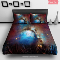 Nebula Space Galaxy Starry Sky Bedding sets Home & Living Wedding Gifts Wedding Idea Twin Full Queen King Quilt Cover Duvet Cover Flat Sheet Pillowcase Pillow Cover 006