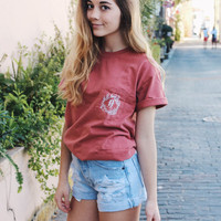 Medium - HP Willow Clothing Short Sleeve Pocket Tee Cumin / Red Colored Comfort Colors Unisex Adults