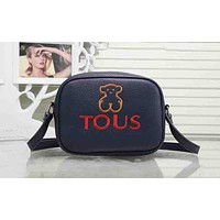 TOUS Stylish Women Embroidery Logo Leather Zipper Shoulder Bag Crossbody Satchel Blue I-XS-PJ-BB