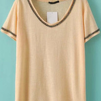 Apricot Beads Embellished V- Neckline Short Sleeve T-Shirt