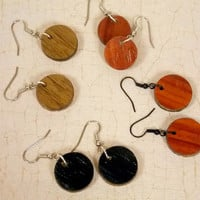 Simple Upcycled Wooden Circle Dangly Earrings