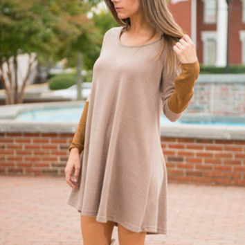 Per-Suede To Tell Dress, Camel