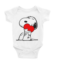 Snoopy Hugging Heart Long or Short Sleeve Unisex Onesuit
