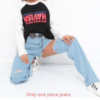 Fashion street shoot irregular hole high waist casual jeans female