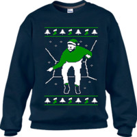 Ugly Xmas Sweaters Navy Blue Hotline Bling Sweater (Green Print)