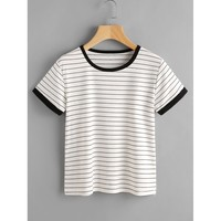 Striped Ringer Tee White and Black