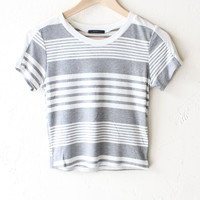 Striped Crop Top - Grey/White