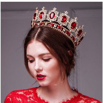 2016 Huge Giant Wedding Bridal Man's Royal 18K Gold Plated Red Crystal Quinceanera Kings Tiaras And Crowns Pageant Headband