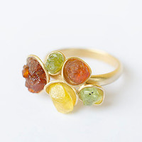 Raw Stones Adjustable Gold Ring with Amber, green Peridot and yellow  Heliodor Crystal