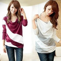 2013 new arrival women loose t-shirt female long-sleeve o-neck stripe plus size batwing shirt, Perfect = 1946546756