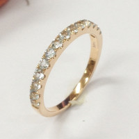 Aquamarine Wedding Band Half Eternity Anniversary Ring 14K Rose Gold