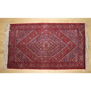 "Antique Persian 100% Wool Vintage Throw Rug  Red Blue 45"" X 26""  -3 available"