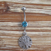 Belly Button Ring - Body Jewelry - Silver Sand Dollar with a Light Blue Gem Stones Belly Button Ring