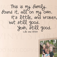 Wall Decal Sticker Quote Vinyl Lettering This is my Family Lilo and Stitch B96