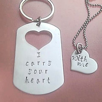 Necklace Keychain Set I carry your heart with me dog tag and heart -handstamped stainless steel