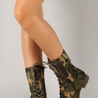 Libby-04 Camouflage Military Lace Up Mid Calf Boot