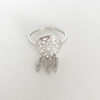 Dream Catcher Fringe Ring In Silver