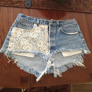 High Wasted Lace Denim Cut Off Shorts by KaitlinsThings on Etsy