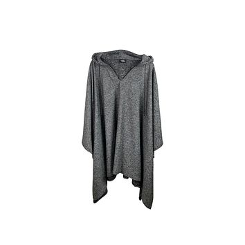 Essential Heather Gray Pullover Poncho With Hood