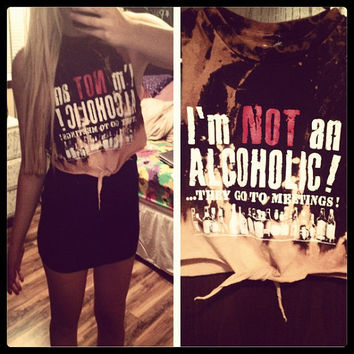 Dip Dyed I'm Not An Alcoholic Cropped Tie Front Tank Sz. Medium