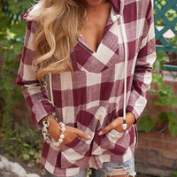 Red and White Plaid Hooded Long Sleeve Slit Hoodie