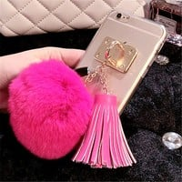 hot pink tassel pom clear case iphone
