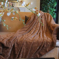 DaDa  63 x 87 Inches Luxury Brown Wooded River Faux Fur Throw Blanket from Tache
