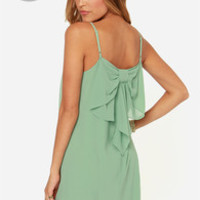 LULUS Exclusive Bow Fo Show Sage Green Shift Dress