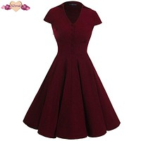 New Pin Up Rockabilly Dress Women Summer Vintage Tunic Swing Party Dresses Female Clothes Retro V Neck Bodycon Dress Z3D12