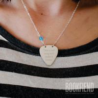 take a sad song engraved guitar pick necklace choose by BookFiend