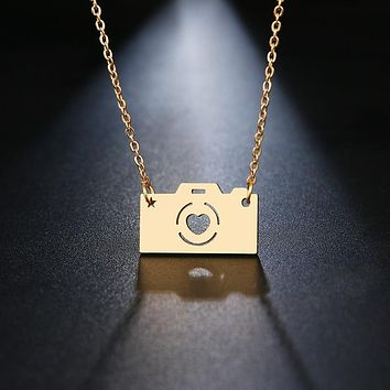 Necklace With Gold Camera Pendant