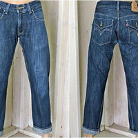 Levis 514 jeans 32 X 31 /  size 7 / 8 /slim straight leg 90s LEVI'S jeans / 100% cotton denim jeans / mid waist dark wash