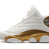 AIR JORDAN 13 White / Gold Mens Basketball Shoes High upper Height Increasing Waterproof Sneakers For Men Shoes
