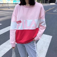 FILA Women Fashion Long Sleeve Top Sweater Pullover