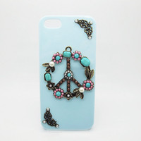 Peace Sign blue  iphone 4/4S / 5 case 4/4S / 5 protective cover