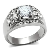 Mens Rings TK352 Stainless Steel Ring with AAA Grade CZ