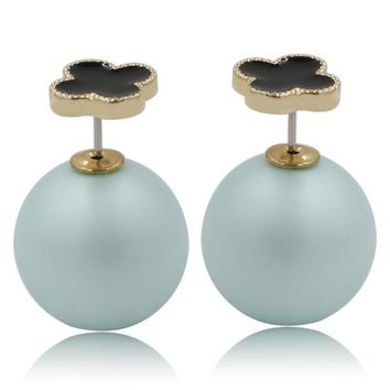 Mise en Dior Style Tribal v.s Van Cleef Earrings - Black & Matte Baby Blue