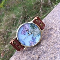 Women's Unisex Fashion World Map Watch Brown Leather Strap Classic Golden Edge with Gift Box