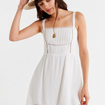 UO Straight-Neck Lace Mini Dress | Urban Outfitters
