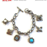 SALE Sterling Silver Mixed Stones Etruscan Style Charms Bracelet Vintage