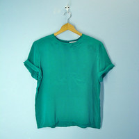 80s SILK tee blouse emerald green slouchy oversized silky top