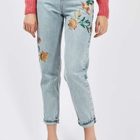 MOTO Fall Floral Embroidered Mom Jeans | Topshop
